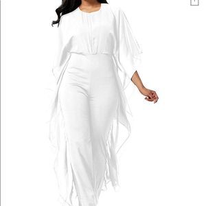 Women's White Chiffon High Waist Jumpsuit